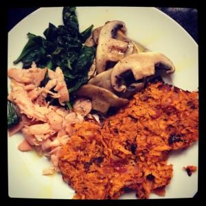 smoked salmon, mushrooms, spinach & sweet potato hash browns